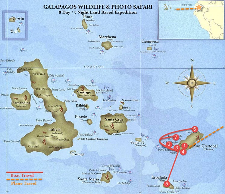 Galapagos Photo Safari Adventure Map